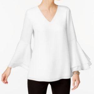 Alfani White Bell Sleeve Blouse Size 10